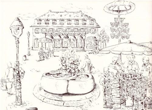 Der Rheintöchterbrunnen auf dem Freyaplatz